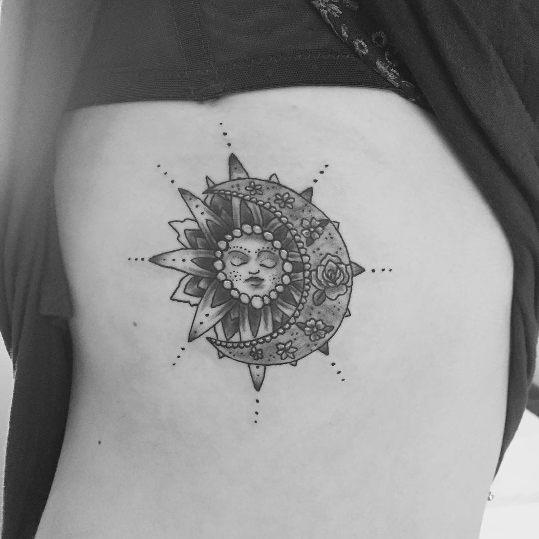 Sun and Moon Hip Tattoo Design