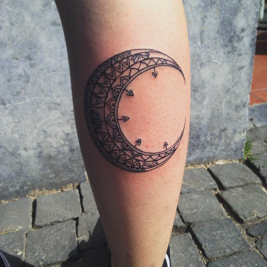 Celestial Moon Tattoo On Hand.