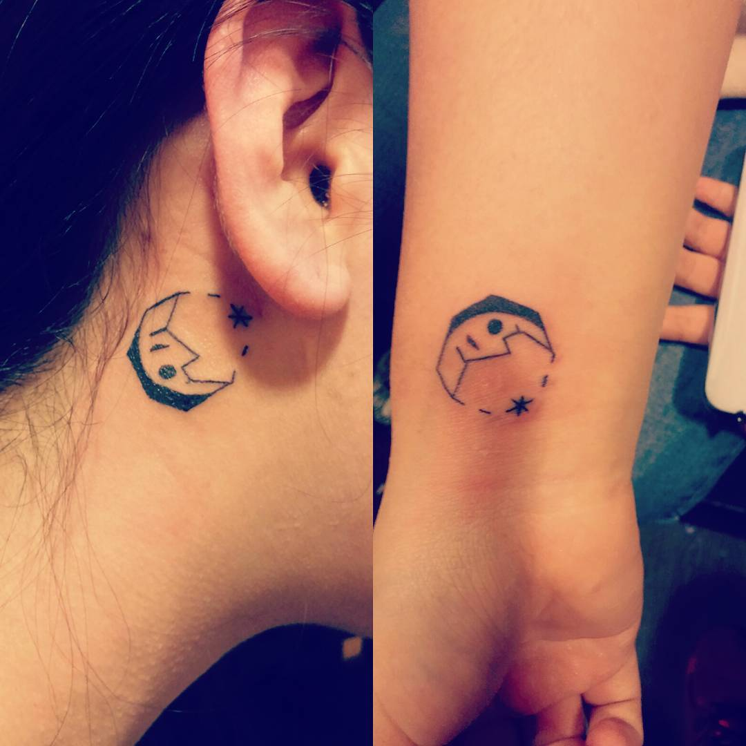 Small Moon Tattoo Back of Ear