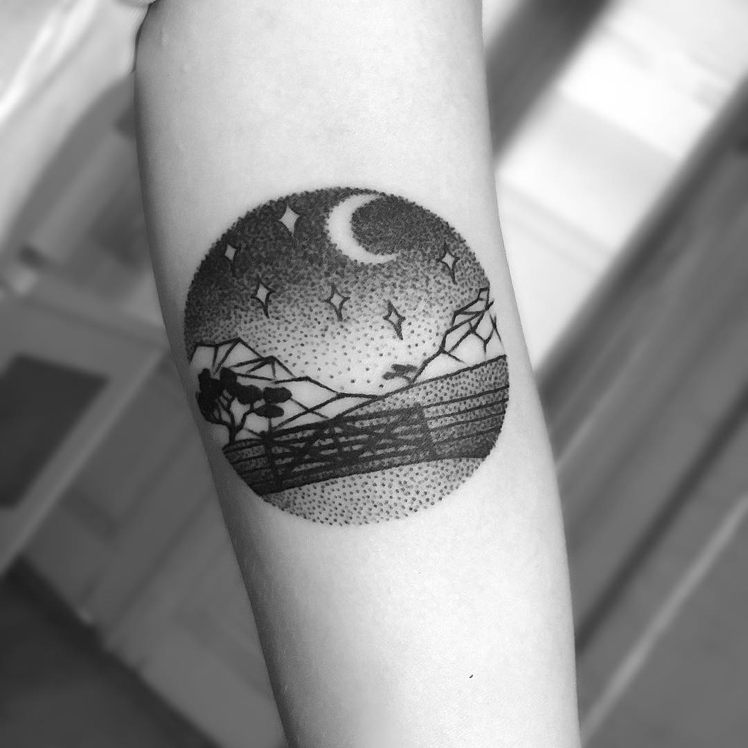 Dotwork Tree and Moon Tattoo