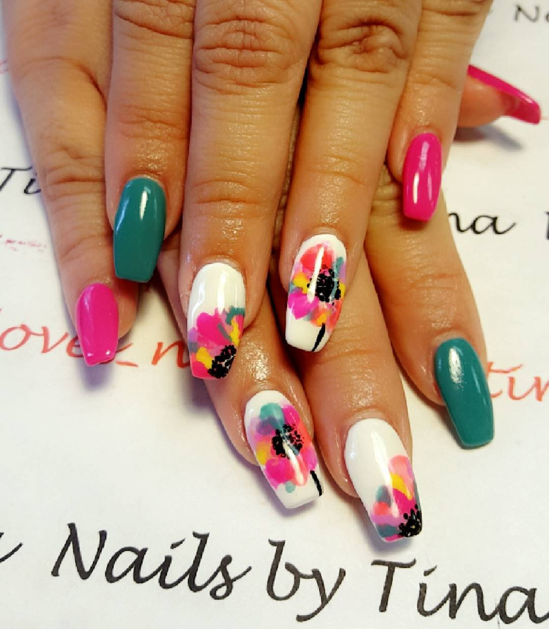 Flower Designed Nail Art For Long Nails