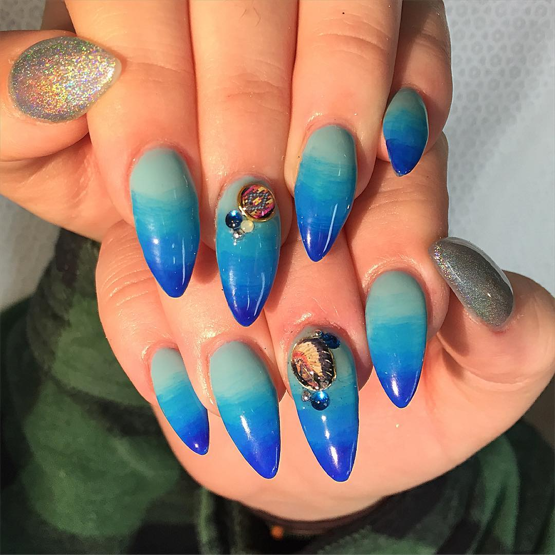 Blue Designed Nail Art For Almond Nails