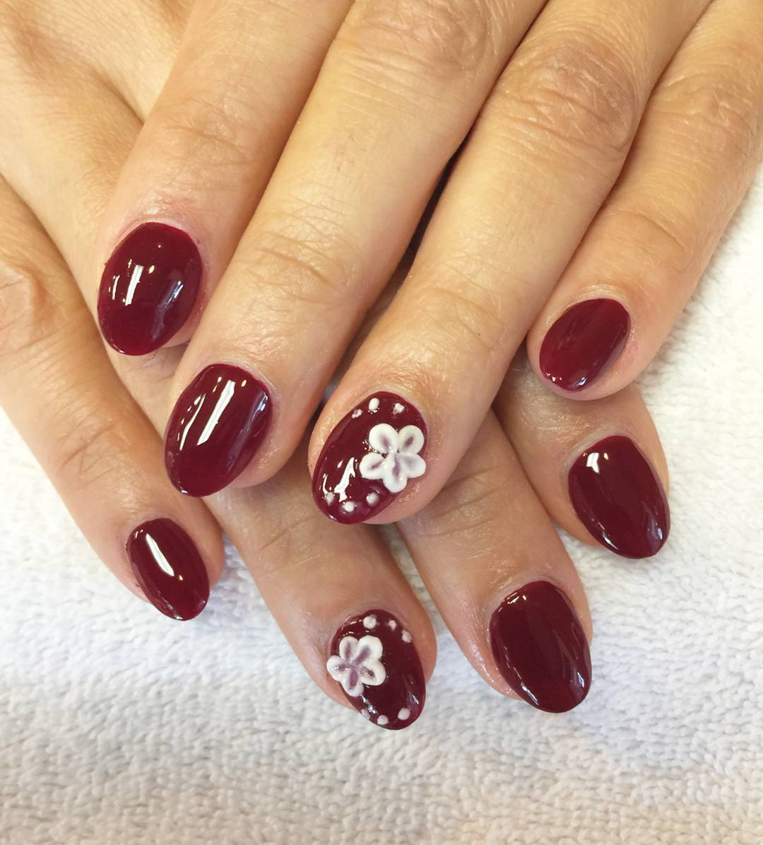 White Flowers Design amp; Dark Red Nail Art