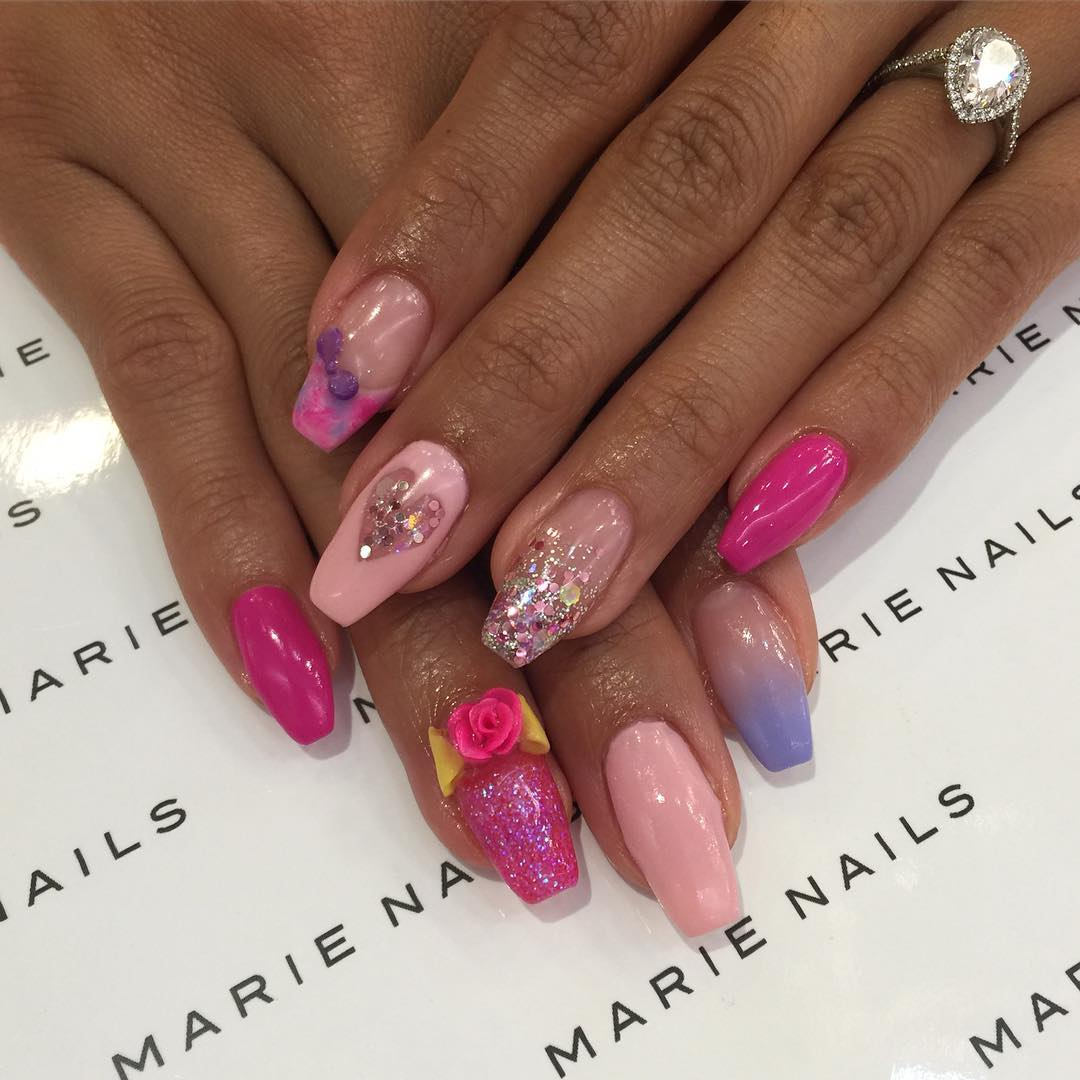 Pink Attractive Designed Nail Art Trend