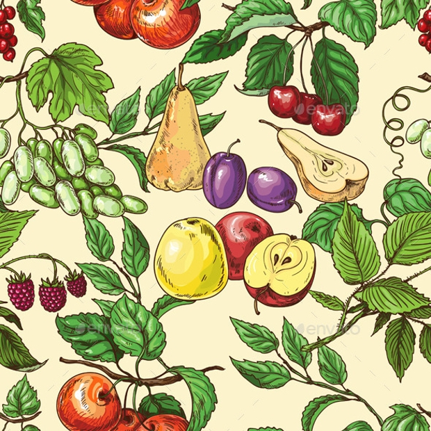 Fruits And Leafs Pattern