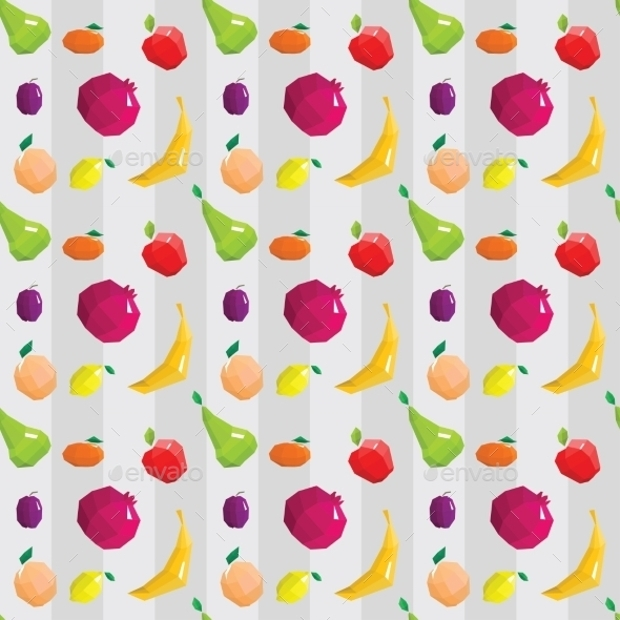 Fruit Symbols Geometric Pattern