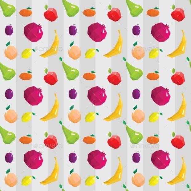 fruit symbols geometric pattern