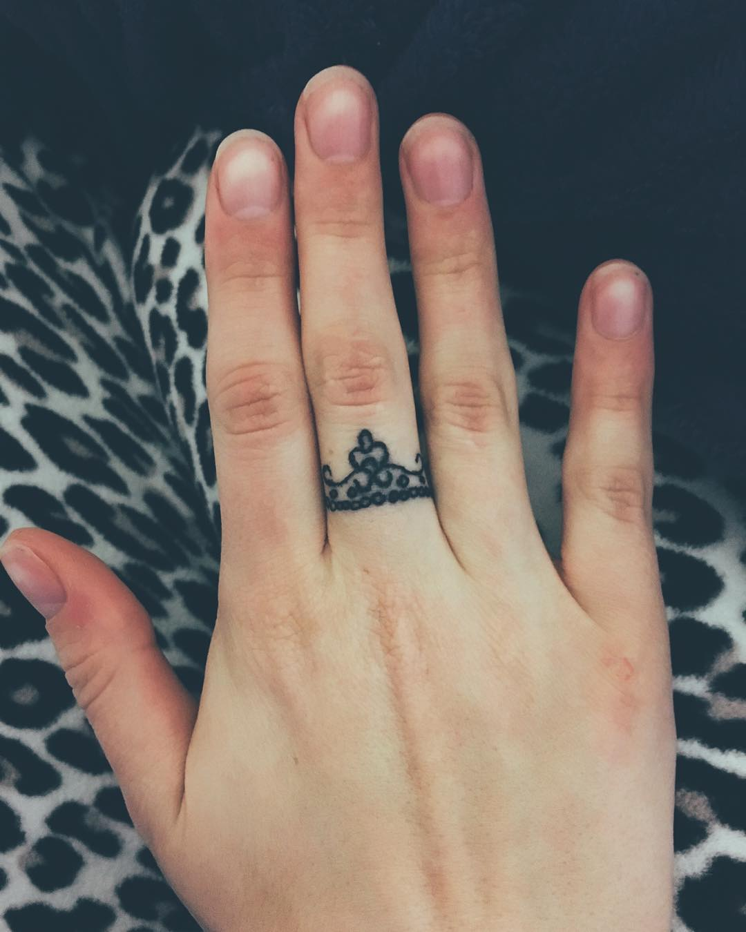 Princess Crown Finger Ring Tattoo