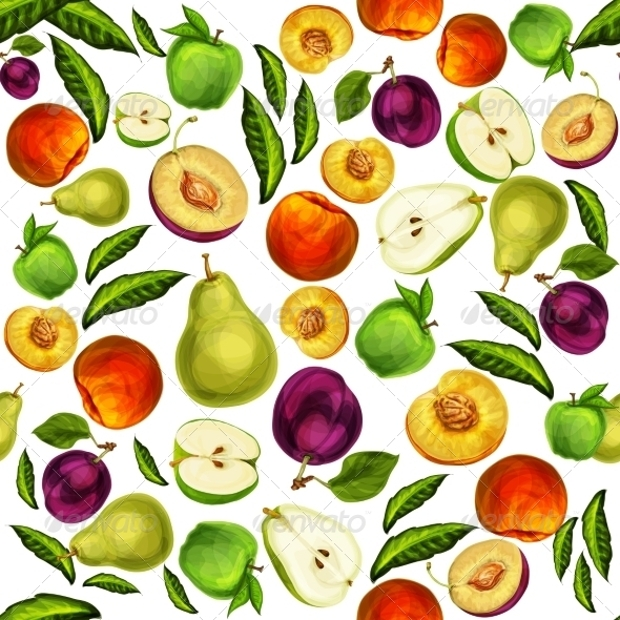 seamless fruits tileable patterns