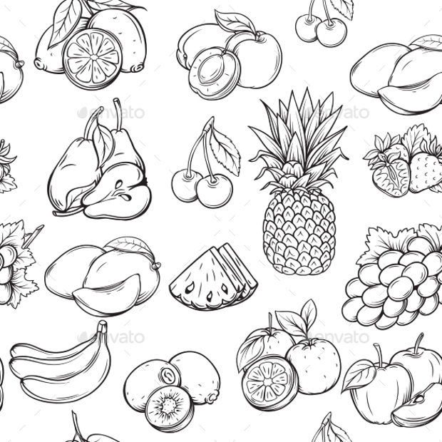 Hand Drawn Fruit Pattern