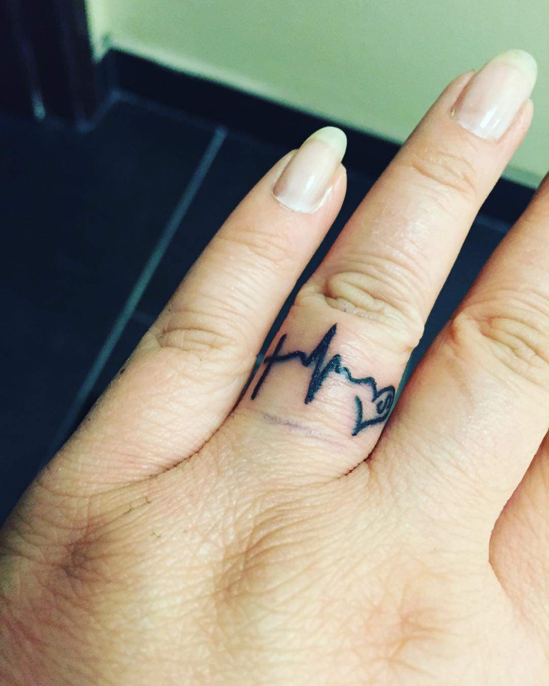 Heart Beat Tattoo For Girls.