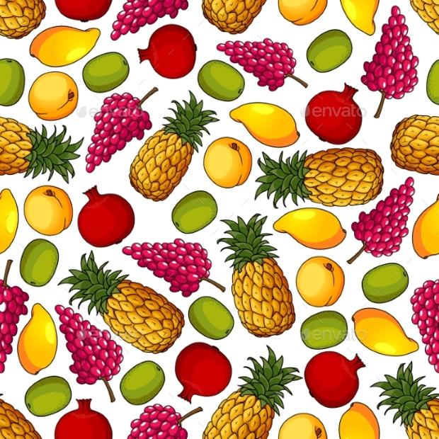 fresh tropical fruit pattern