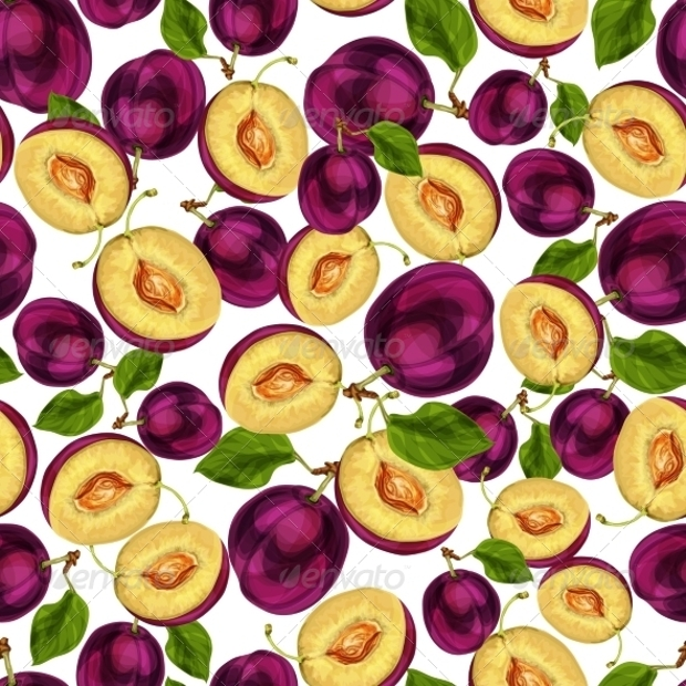 Seamless Plum Fruit Pattern