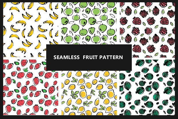 Set of 6 Seamless Fruit Patterns