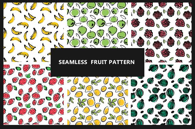 set of 6 seamless fruit patterns