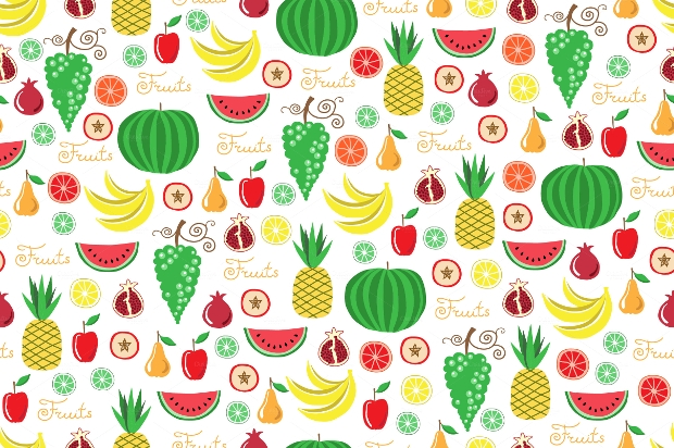 Cartoon Vector Fruit Pattern