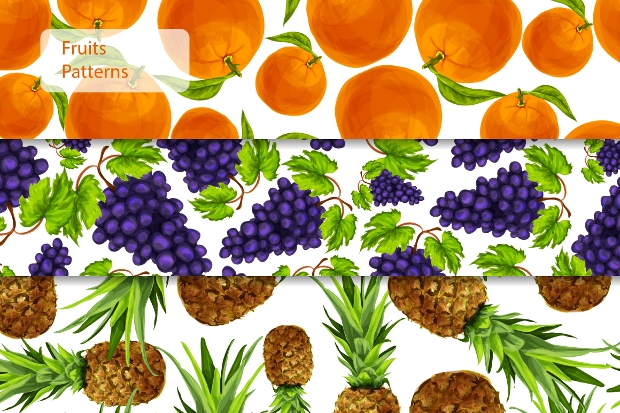 Graphic Fruit Seamless Patterns
