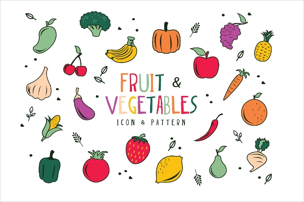 fruits and vegetables seamless patterns