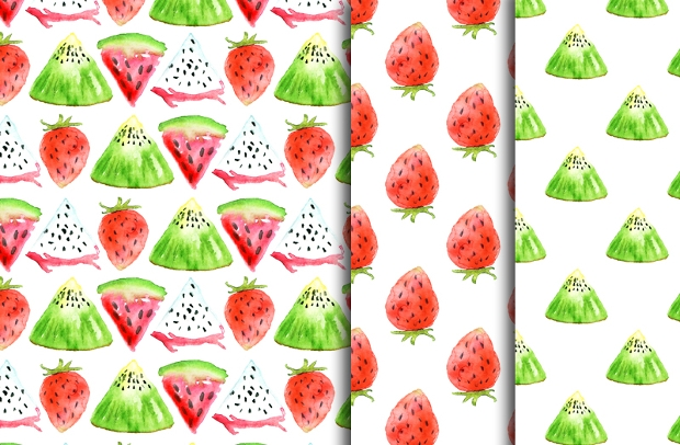 Watercolor Fruit Art Pattern on Paper