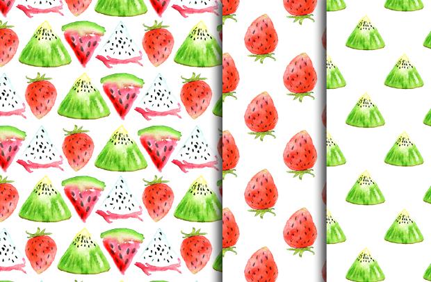 watercolor fruit art pattern on paper