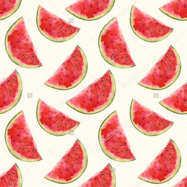 watermelon fruits watercolor pattern