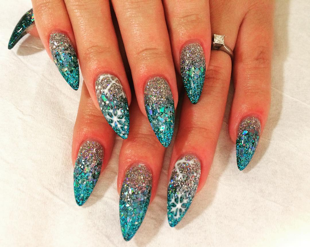 Blue And Silver Glitter Nail Art - 29+ Glitter Acrylic Nail Art Designs, Ideas Design Trends