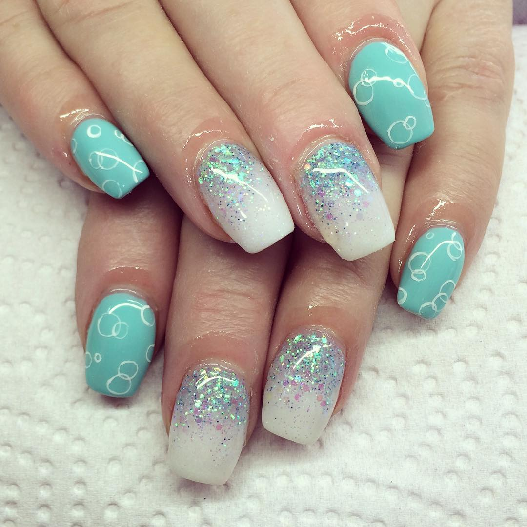 Blue And White Nail Design Spa