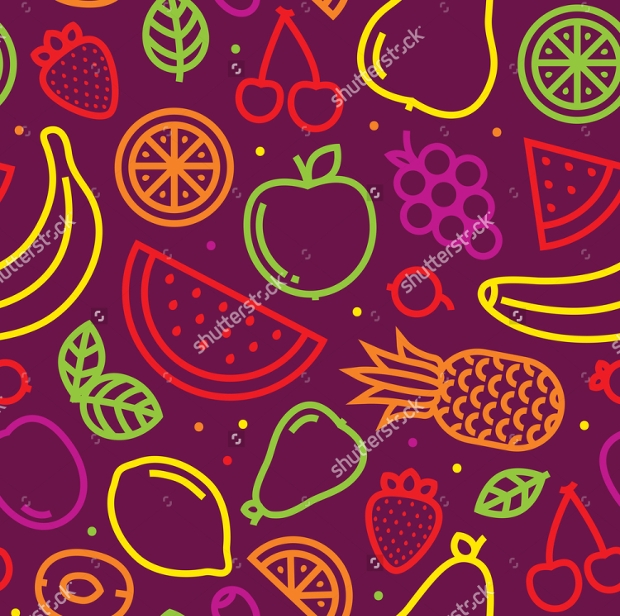 Purple Background Fruits Pattern