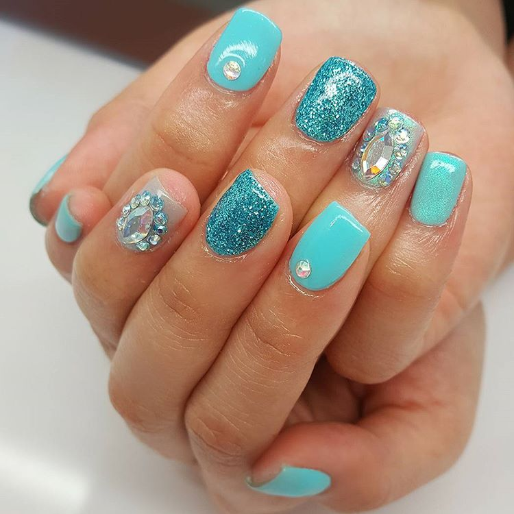 29 glitter acrylic nail art designs ideas design trends blue stones nail design prinsesfo Choice Image