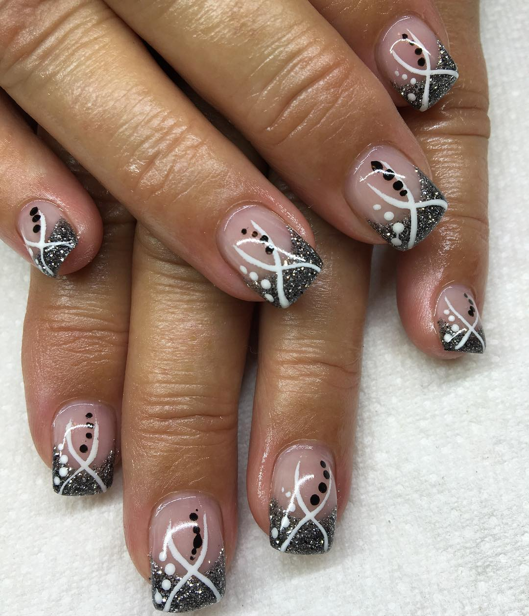 Black And White Glitter Acrylic Nail Art
