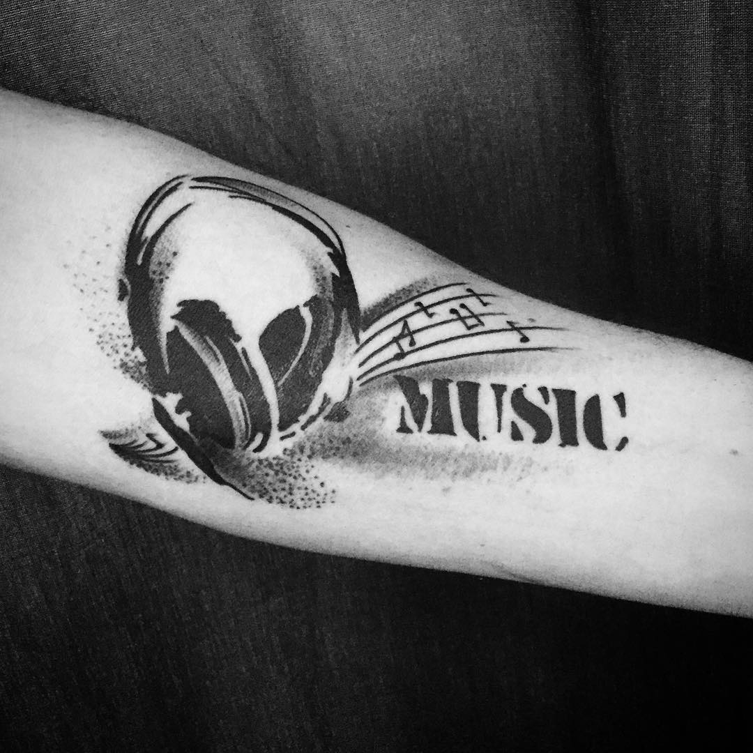 Music Lettering Tattoo Art.