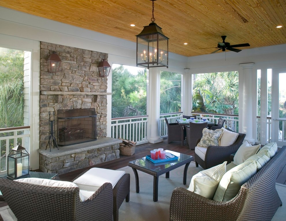 22 eclectic porch ideas outdoor designs design trends for Covered deck furniture