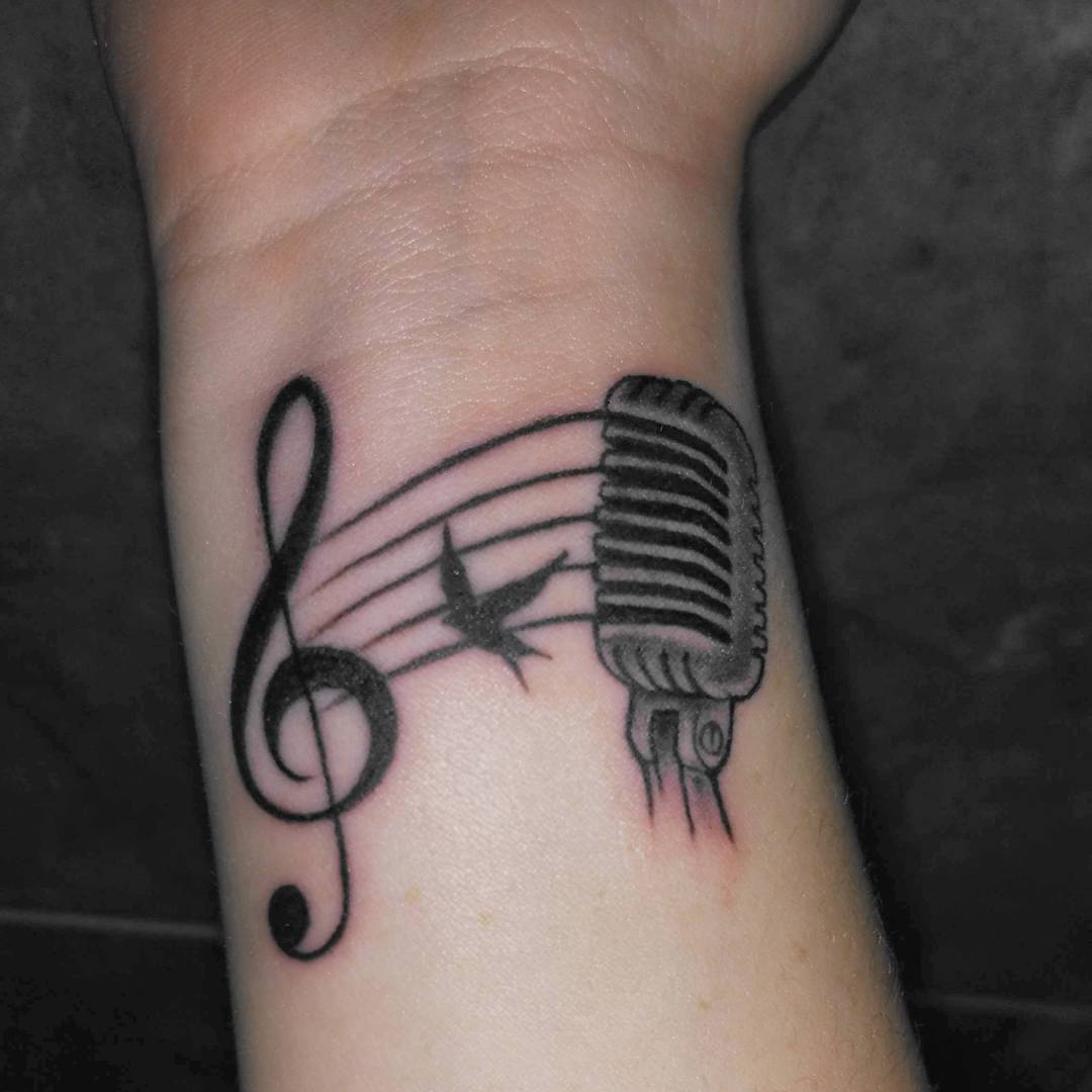Music Tattoo Design on Wrist.