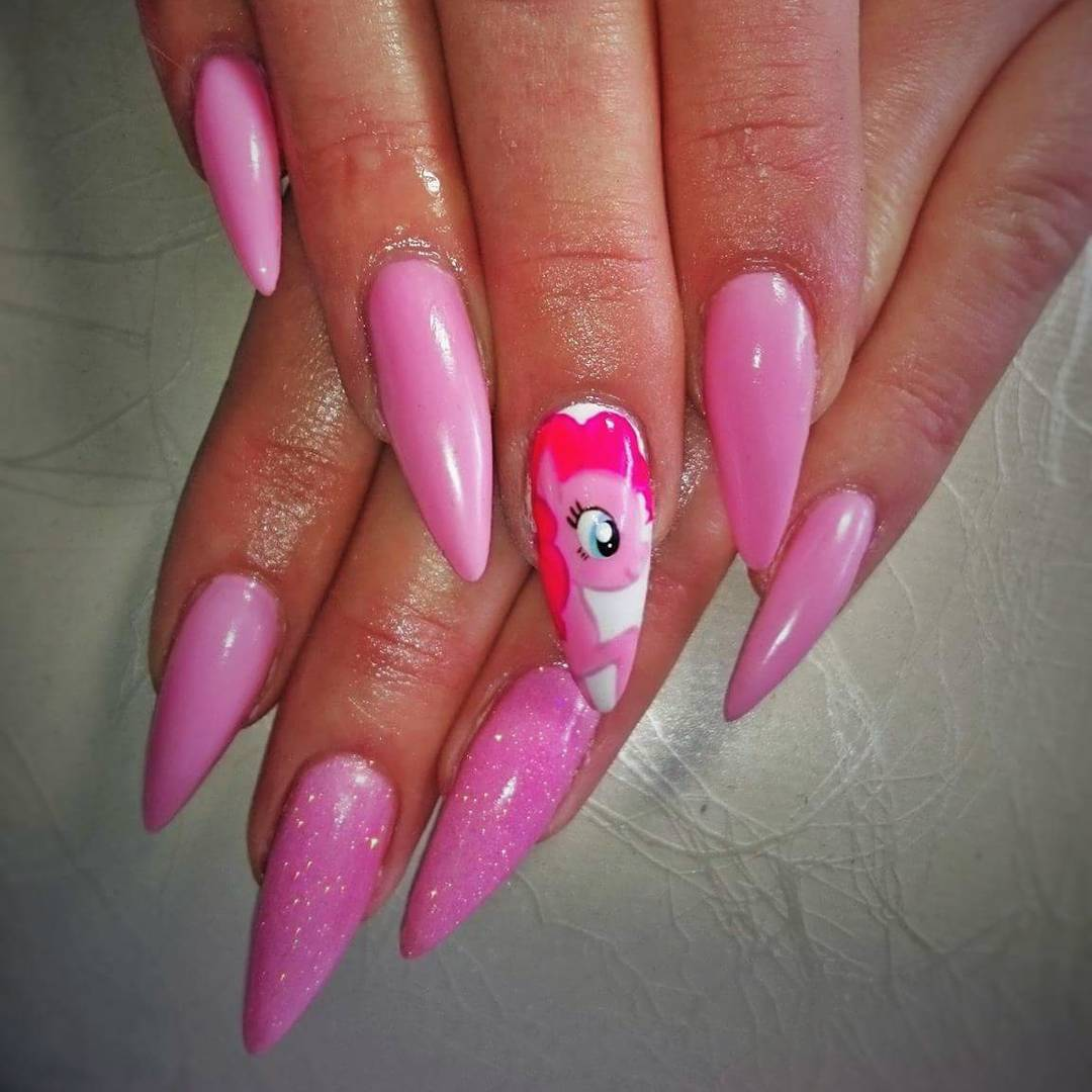 Pretty Pink Color Nail Design Idea