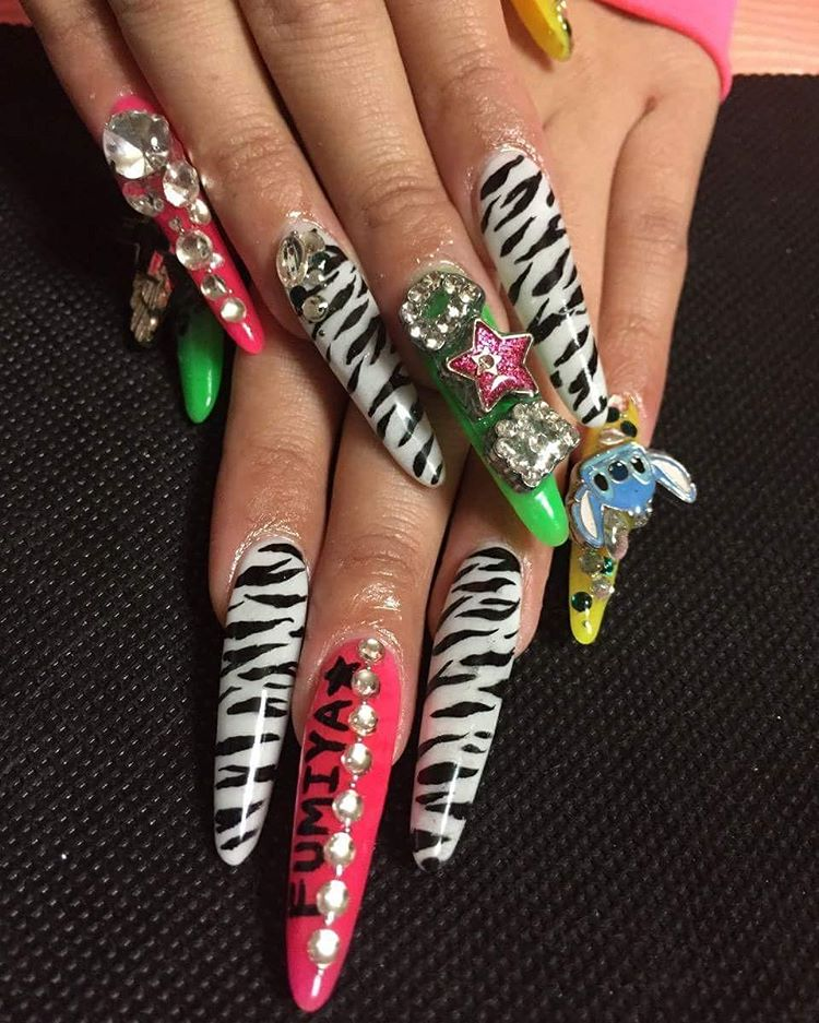 Stones Designed Colorful Nail Art Trend