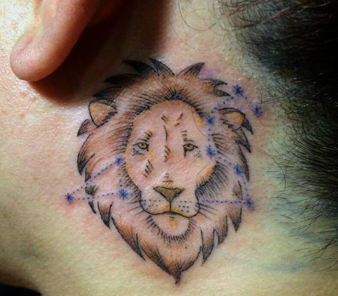 Below Ear Lion Tattoo For Girls.