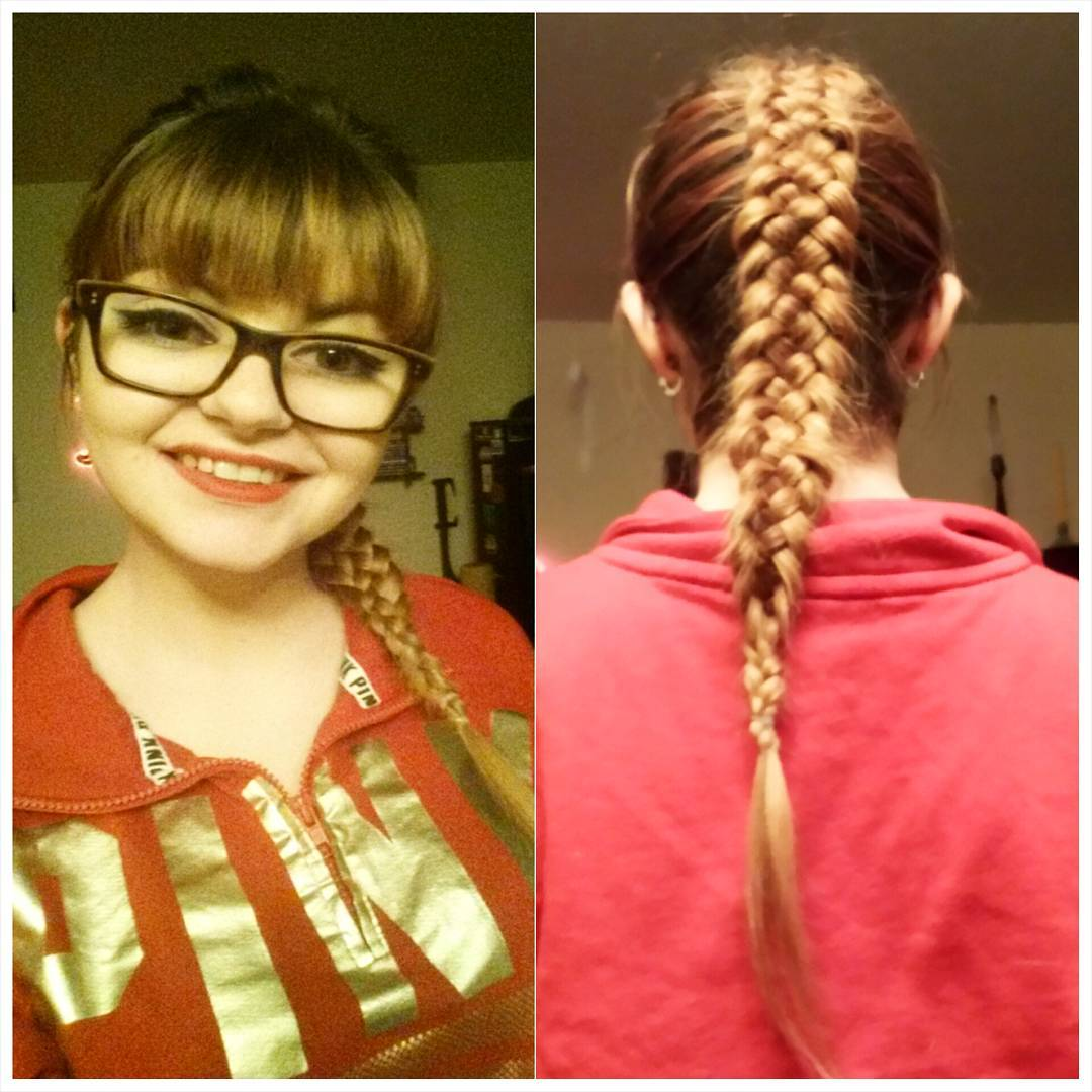 Blunt Bangs with a Braid hair style