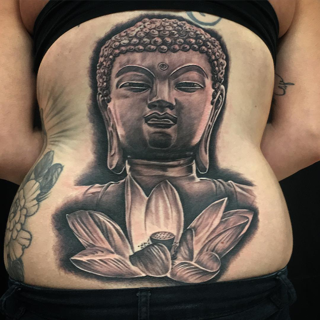 buddha and lotus tattoo design