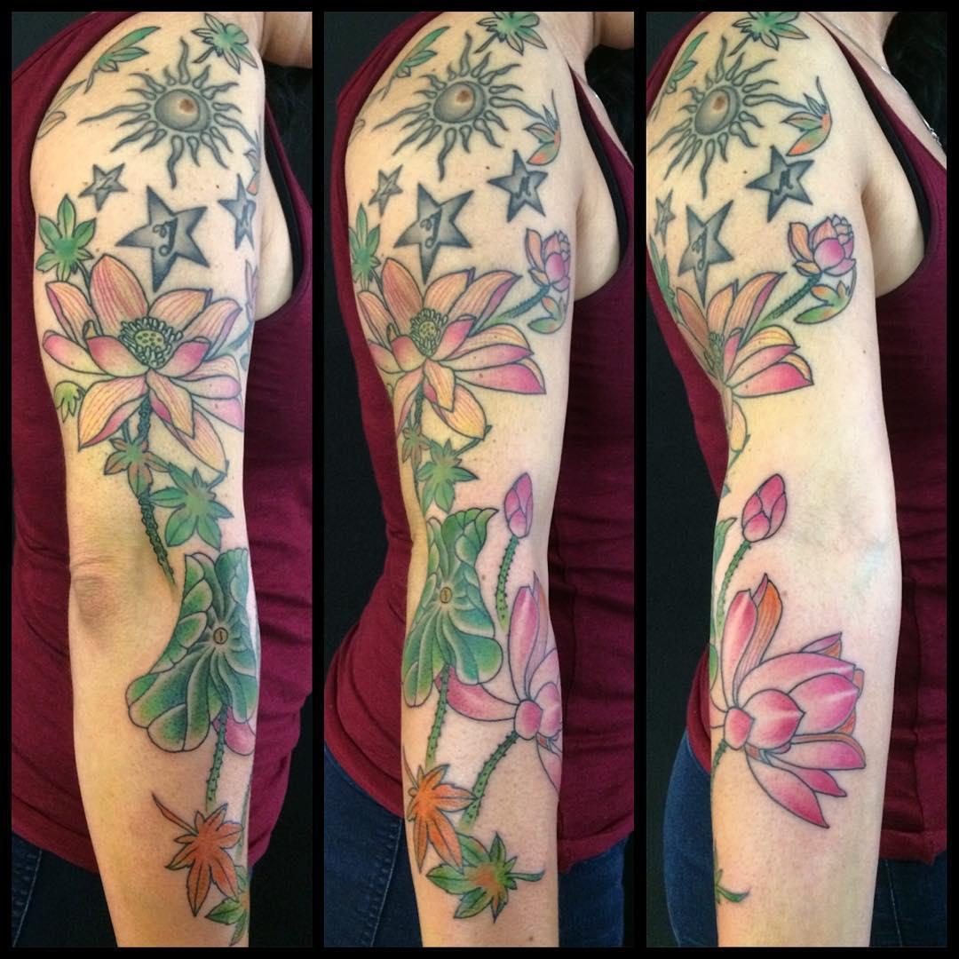 colorful sleeve lotus flower tattoo
