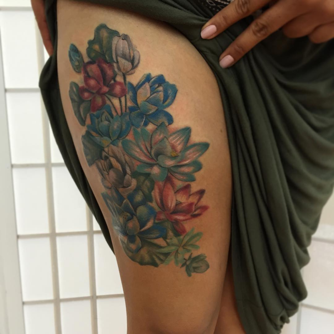 Blue Purple and Red Lotus Floral Tattoo Design