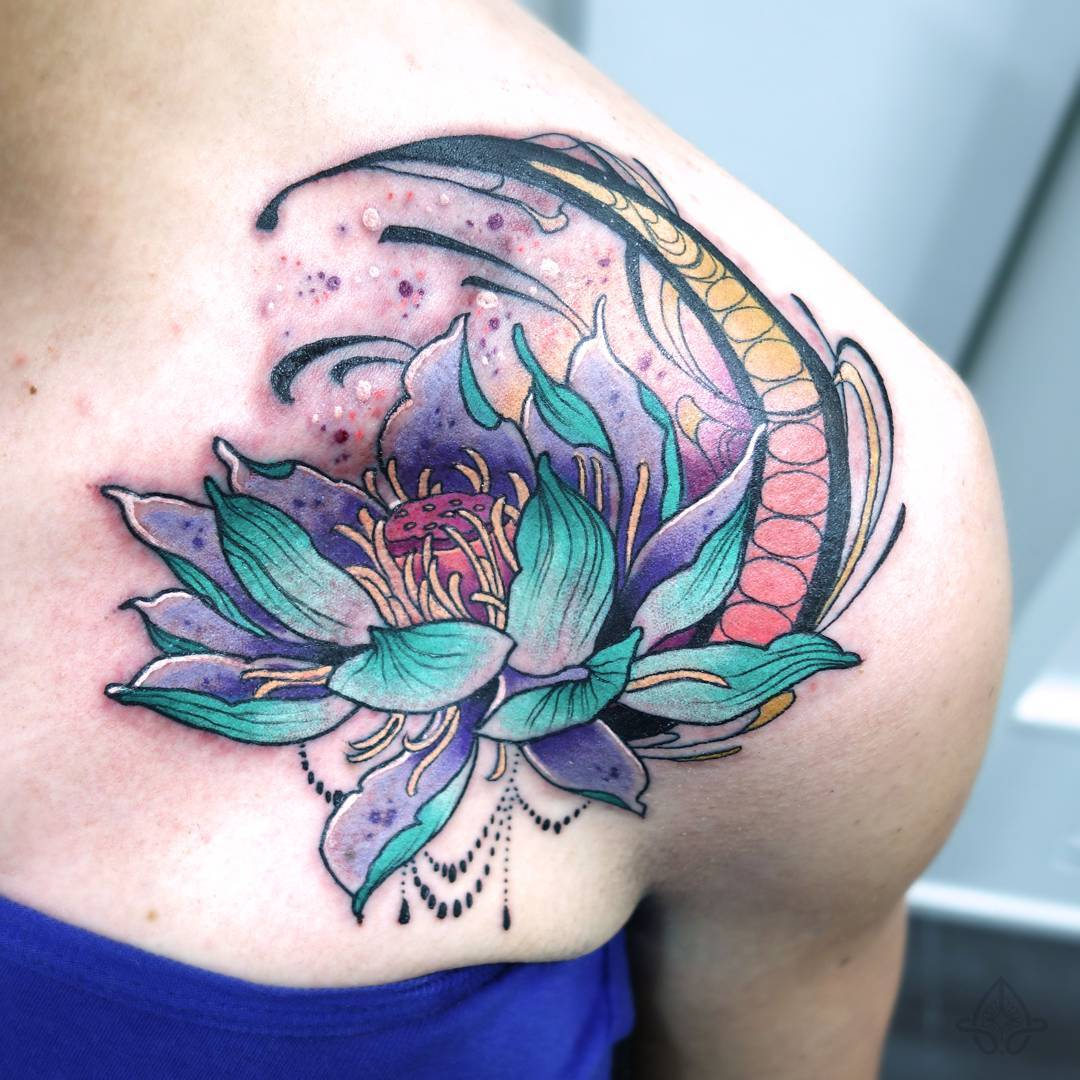 blue shoulder lotus tattoo