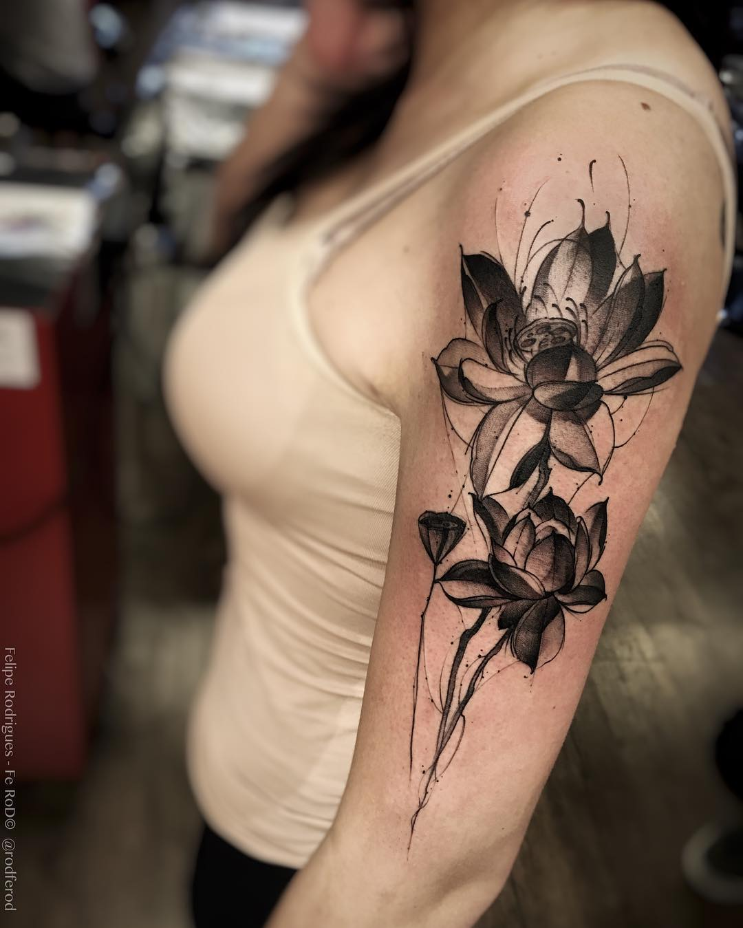 sleeve black lotus tattoo for girls