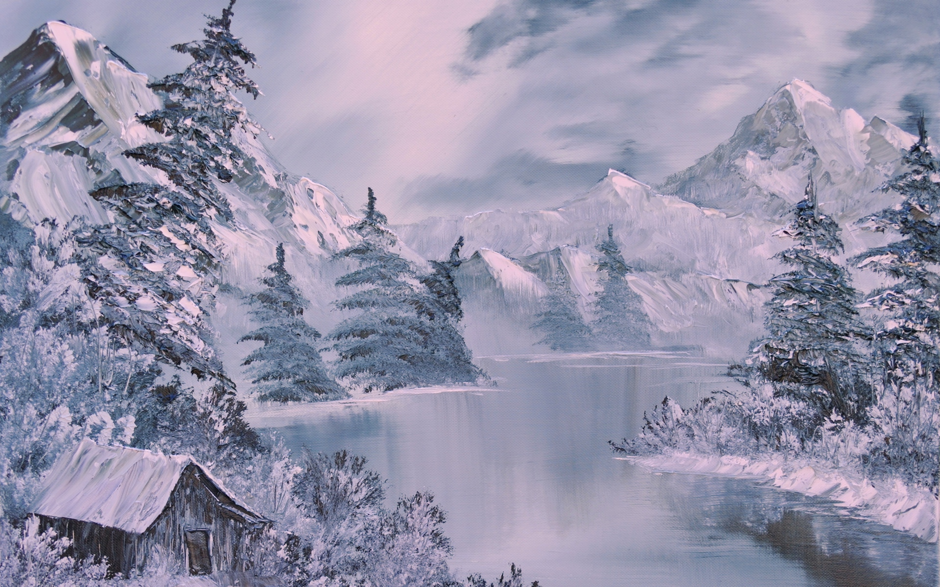 winter river wallpaper