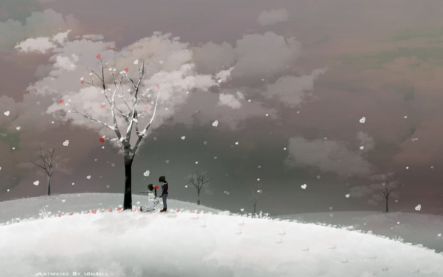 cute winter love wallpaper