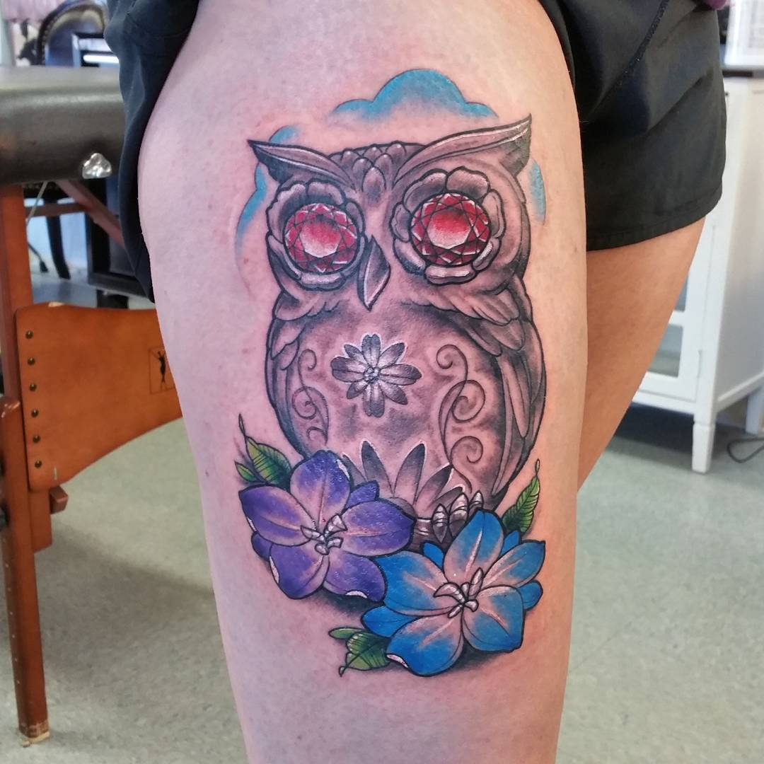 Owl With Flowers Tattoo Design