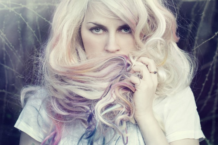 Creamy blonde hair color with rainbow colors