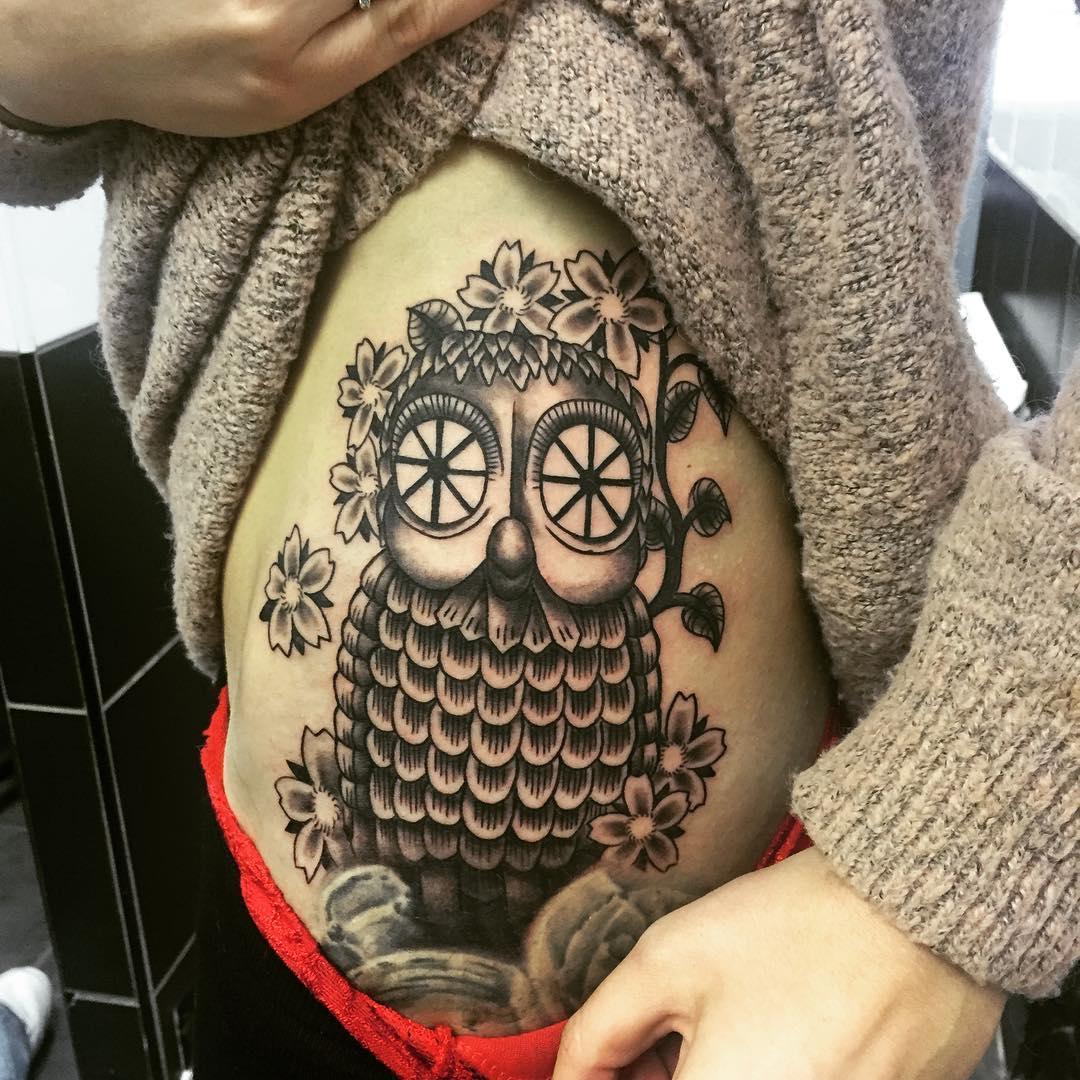 Owl Tattoo Design On Side Rib