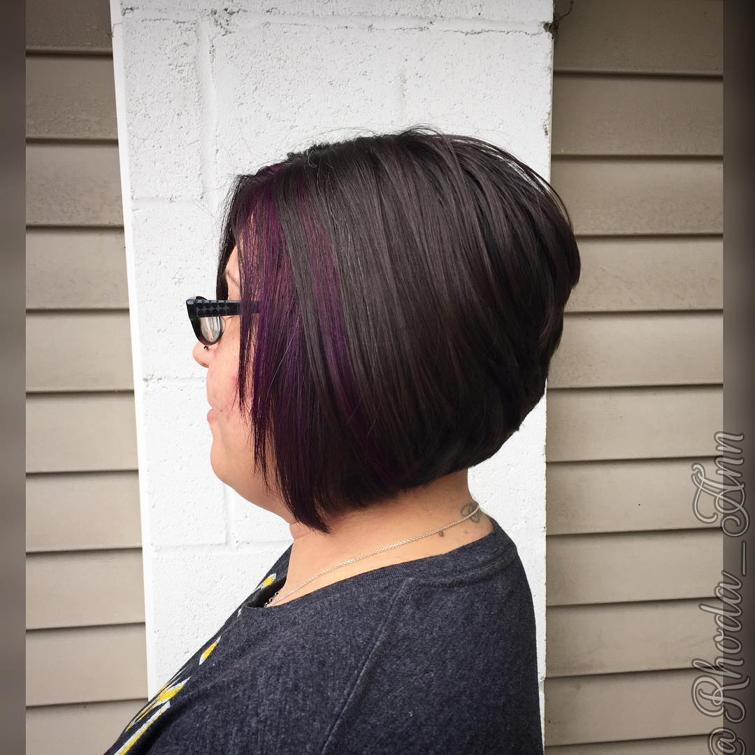 blue and black bob hair design