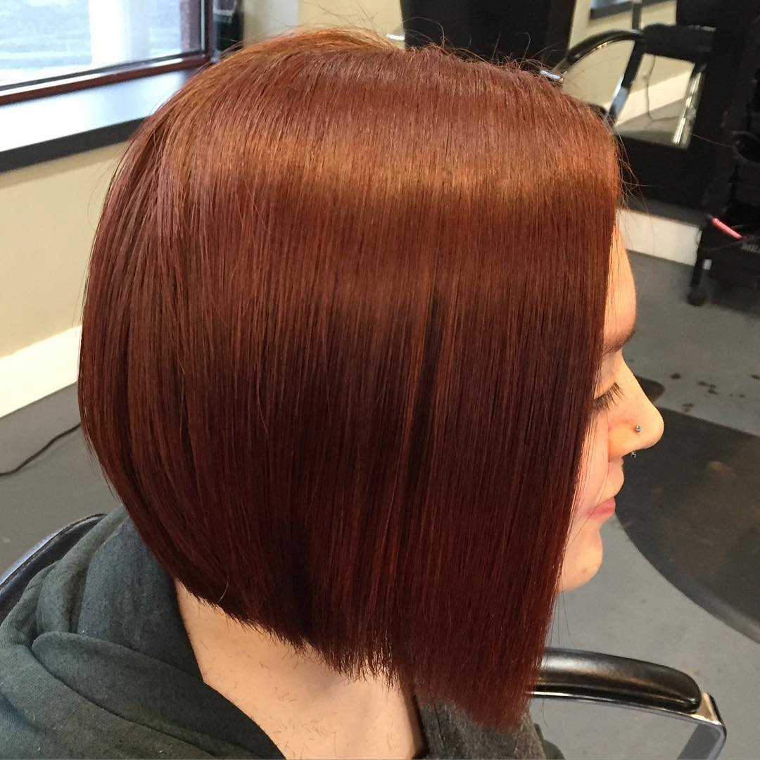 adorable inverted bob style for red hair