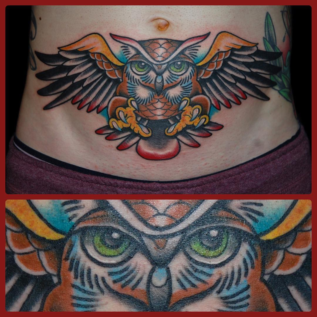 Colorful Owl Stomach Tattoo For Girls